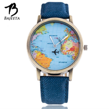 BAJEETA World Map Quartz Women Watch Fashion Leather Men Watch Ladies Aircraft Vintage Style Wristwatch Casual Relogio Feminino