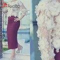 Uva Vaina Falda Con Vestido de Flores 3d Perlas Top Elegante Abaya Té Longitud vestido de Noche Vestidos de Baile 2017 Nuevo Diseño de la Señora Gaga