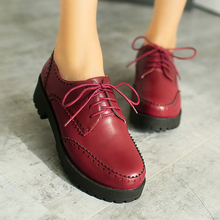 British restoring ancient ways college style round toe Oxford shoes lace-up red brown black med heel women's shoes big size