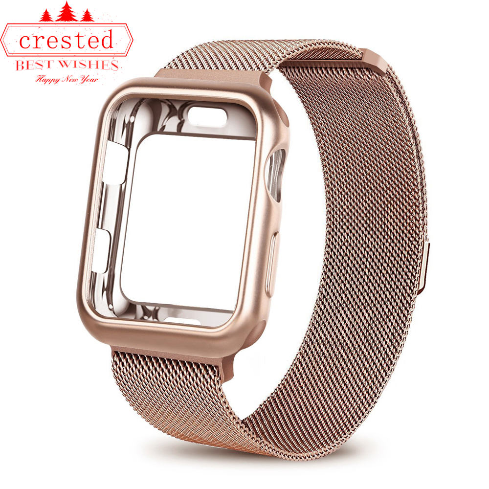Case+watch Strap For Apple Watch 3 Iwatch Band 42mm 38mm Milanese Loop Bracelet Stainless Steel Watchband For Apple Watch 4 3 21(China)