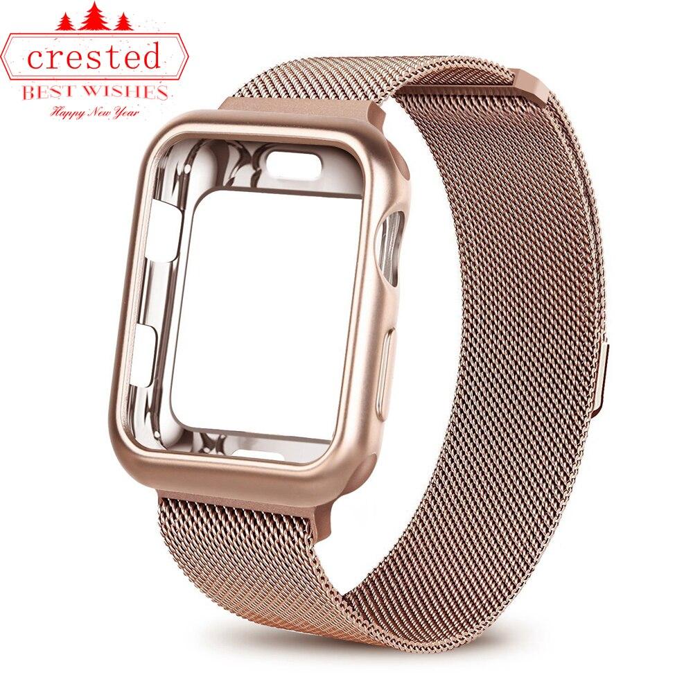 + Correa de reloj para Apple watch 3 iwatch banda 42mm 38mm pulsera Milanese Loop pulsera de reloj de acero inoxidable para Apple 4 3 21