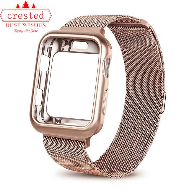 Funda + correa de reloj para Apple watch 3 iwatch band 42mm 38mm Milanese Loop pulsera correa de acero inoxidable para Apple 4 3 21