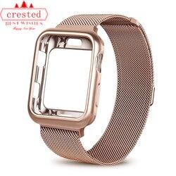 Kılıf + saat kayışı için Apple Izle 3 iwatch bileklik 42mm 38mm Milanese Döngü bilezik Paslanmaz Çelik kordonlu saat için Apple izle 4 3 21