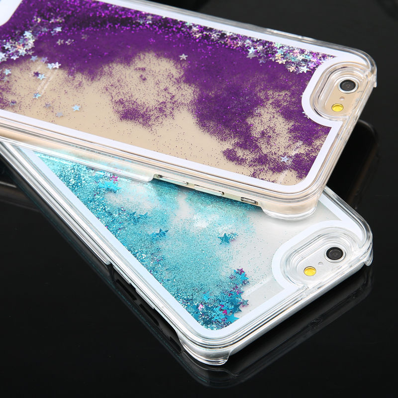 Bling Quicksand Cases For iPhone 5s SE Case For iPhone 6 6s 7 8 Case Hard PC Star Glitter Liquid Back Cover For iPhone 6 S Cases in Fitted Cases from Cellphones Telecommunications