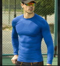 MEN tight shirt long sleeve slimming underwear clothing body shapers quick dry tops nylon black MA01
