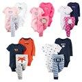 3 unids 2017 Nuevo Otoño Bebé Fijado Ropa de Algodón Largo Pantalones de Los Mamelucos de la manga Ropa Bebes Ropa Infantil Ropa de Bebé Recién Nacido conjunto