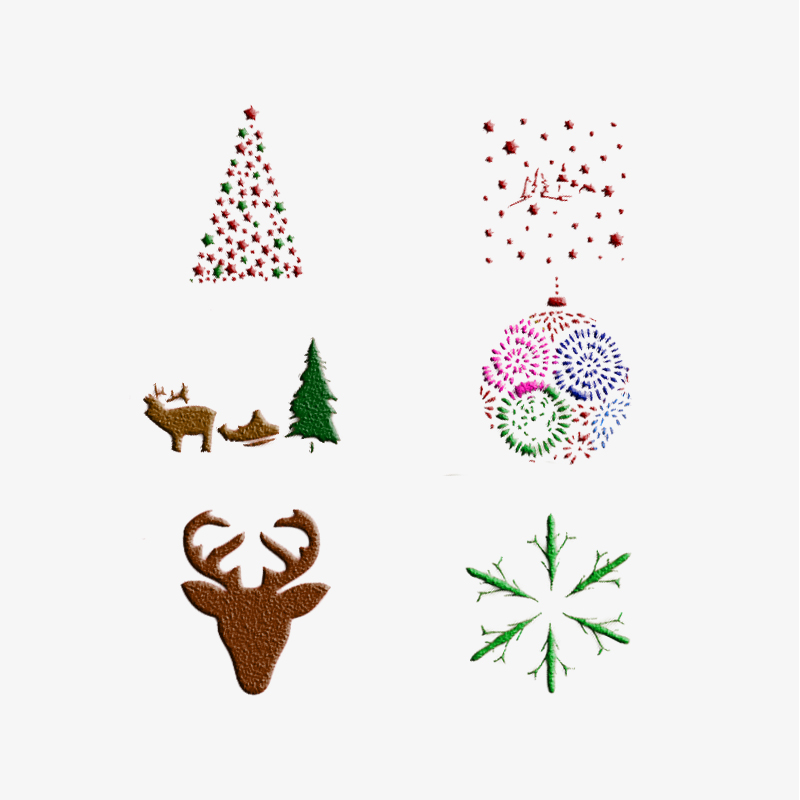 Facemile 6pcs Christmas Cake Cookie Stencil Set Icing Royal Stencil