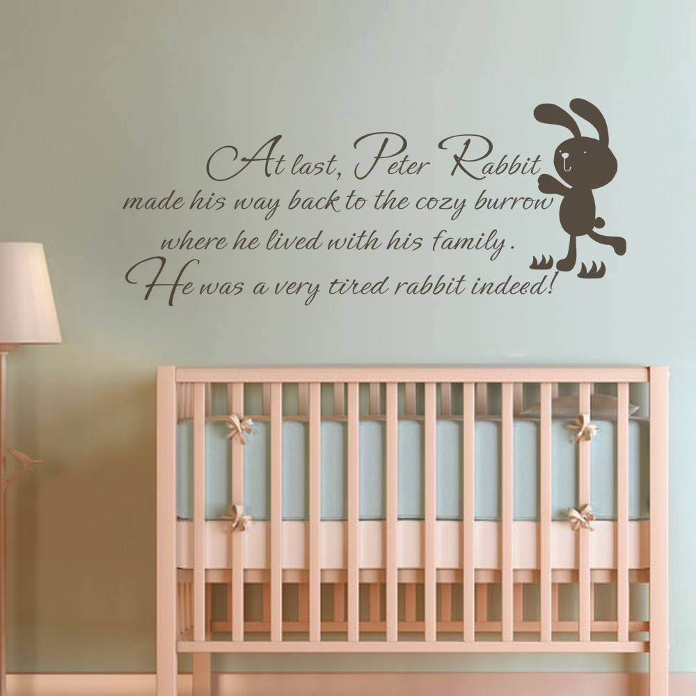 Quote Wall Stickers For Nursery : Children wall quote peter rabbit baby nursery bedroom kids