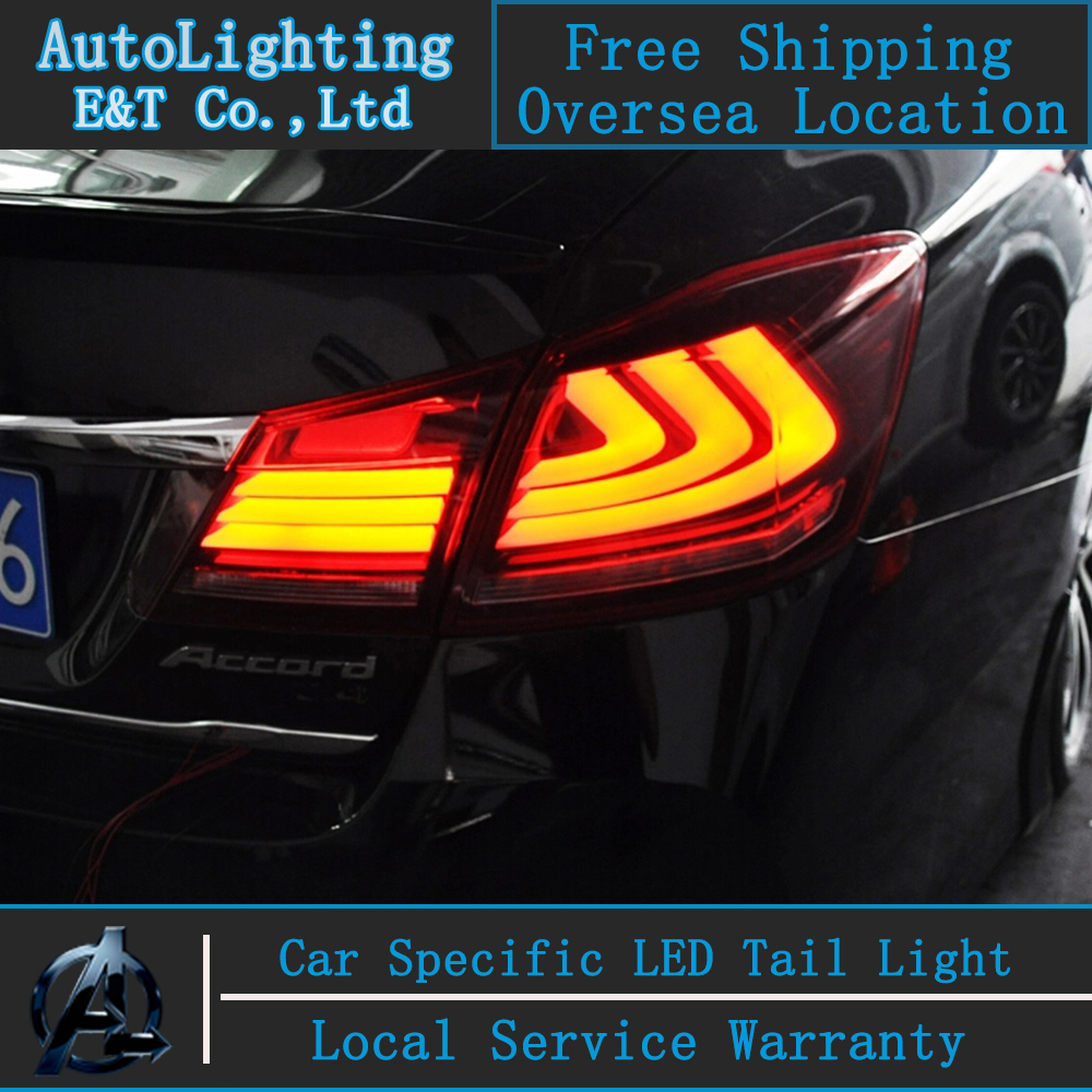 New!! Car Styling LED rear lights tail lights stop+ brake top quality super bright for 2014 for Honda ACCORD led tail ight 2017 car styling 24 80 led additional brake lights auto super hight bright led stop bean chassis lights for car 12v signal lamps