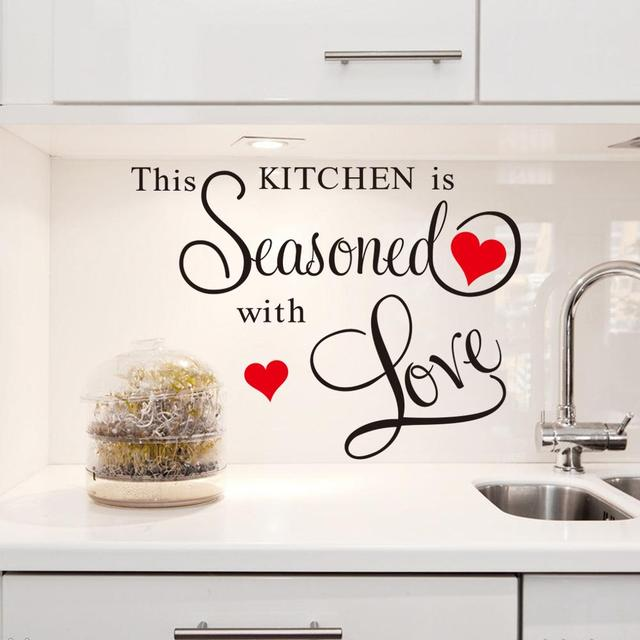 Red Heart Large Quote Wall Stickers Kitchen Decor Home Letter Decoration  Removable Vinyl Wall Decals Art