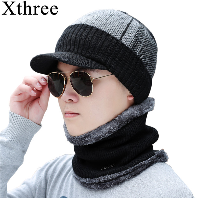 Xthree Winter   Skullies     Beanies   Hat Scarf Set Men Knitted Hat Caps Male Gorras Bonnet Warm Winter Hats For Men Women   Beanies   Hats