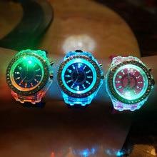Fashion Silicone Diamond Rhinestone Watch LED Luminous Colorful Lights Watches Women Ladies Quartz Wrist watch relogio masculino
