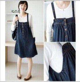 4fba355ac42 Stylish Maternity Dress Denim Suspenders Clothing Summer Vest One-piece  Dress Plus Size For Pregnant