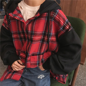 Image 3 - Hoodies Thicker Oversize Women Hooded Patchwork Chic Plaid Batwing Sleeve Korean Style Trendy Womens Casual Sweatshirts Students