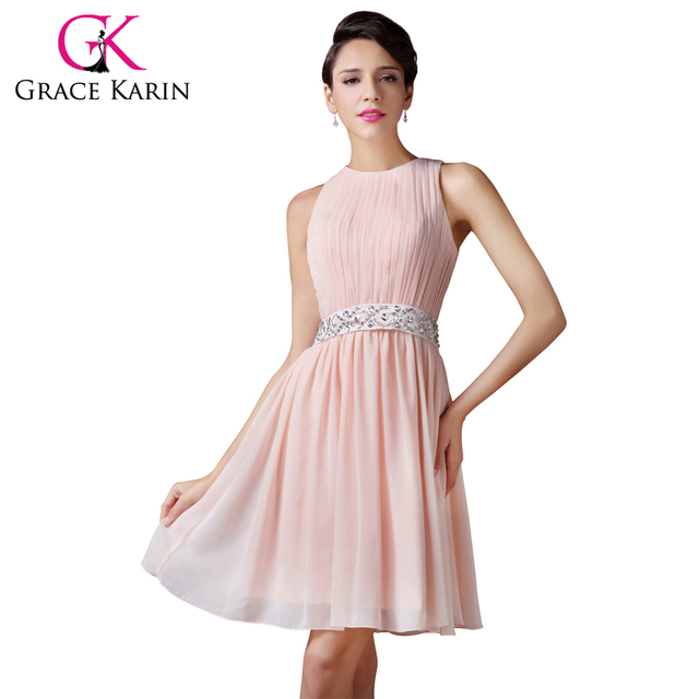 Grace Karin Short Bridesmaid Dresses 2017 Sleeveless Fashion Knee Length Light Pink Adult Women Girls Shining