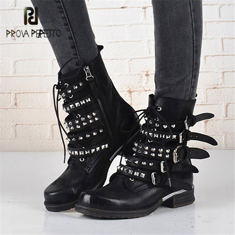 Prova Perfetto Straps Women Ankle Boots Rivets Studded Genuine Leather Short Botas Autumn Winter Female Platform Rubber Shoes prova perfetto black handmade women genuine leather mid calf boots buckle straps martin boots women platform rubber shoes woman