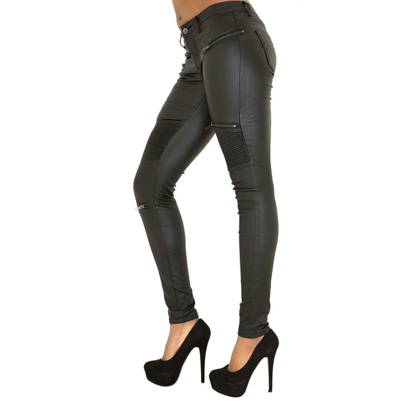 80485fd49 2017 winter Sexy Women Pu Leather Black Pants Zipper Stretch Bodycon  Pleated Patchwork punk rock Women Pencil Long Pants - TakoFashion - Women's  Clothing ...