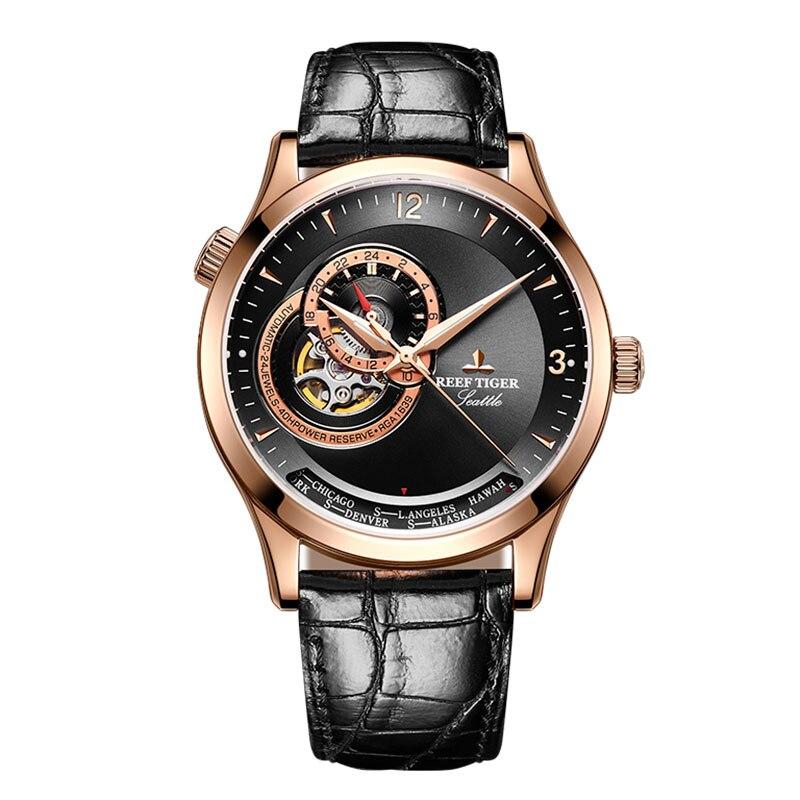 Novo Tigre Recife/RT Azul Mostrador do Relógio Casual Relógios Automáticos para Os Homens em Ouro Rosa Pulseira de Couro RGA1693