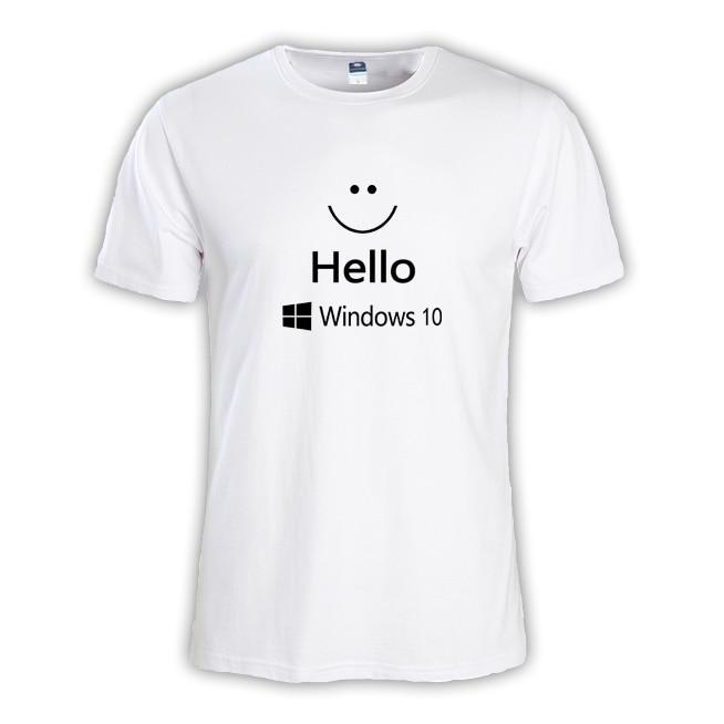 2017 new summer fashion Mens T-SHIRT Geek NERD freak hacker pc gamer systems programmer boy big tees male Hello windows 10 DOS