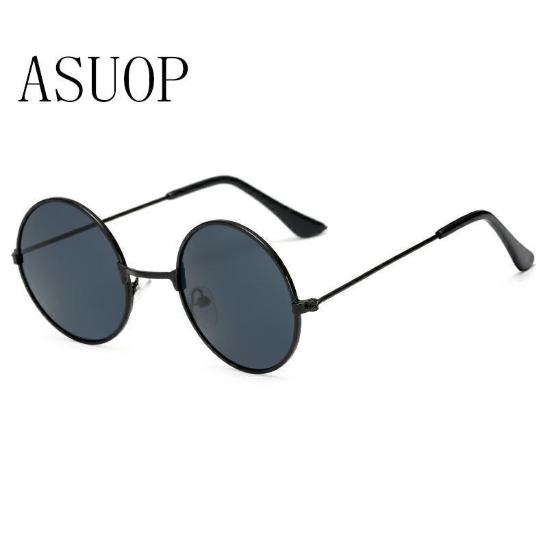 2019 새로운 남녀 어린이 선글라스 라운드 복고풍 패션 어린이 안경 클래식 브랜드 디자인 금속 선글라스