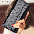 ShowMi 2016 Luxury Brand Women Wallet Ladies Long Purse Clutch Price Dollar Plaid Black Big Real Genuine Leather Female Wallet