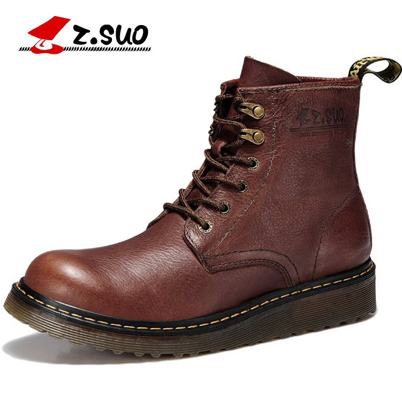 Z.Suo Fashion Spring/Autumn men shoes Genuine Leather boots Lace-Up Breathable/Comfortable British Men's Casual Martin Boots the spring and summer men casual shoes men leather lace shoes soled breathable sneaker lightweight british black shoes men
