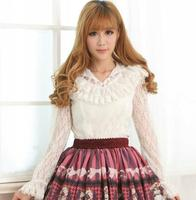 Vintage Lolita Sweet Female Lace Blouse White/Black Sheer Long Sleeve Illusion Neck Lace Top with Ruffles