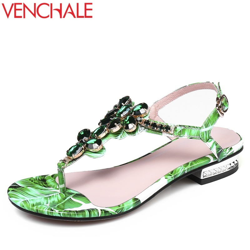 VENCHALE 2018 summer new fashion sandals microfiber low square heel print crystal sandals heel height 2 cm buckle strap shoes venchale 2018 summer new fashion sandals wedges platform women shoes height heel 10 cm buckle strap casual cow leather sandals