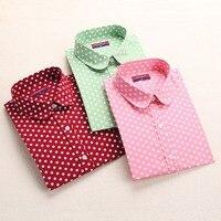 Cotton Polka Dot Women Blouses Printed Long Sleeve Shirts Turn Down Collar Ladies Casual Tops 5XL