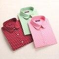Polka Dot vermelho Camisas Das Mulheres Blusas de Algodão de Manga Longa Das Senhoras topos de colarinho da camisa feminino plus size 5xl blusas clothing para mulheres