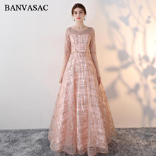 BANVASAC 2018 Sequined Sash O Neck A Line Long Evening Dresses Elegant Lace Half Sleeve Party Backless Prom Gowns cactus cs cli526y yellow