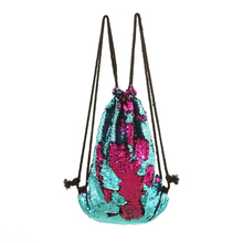 Mermaid Sequin Drawstring Bags Fashion Travel and School Shoulder Bag for Kids Teenager and Women