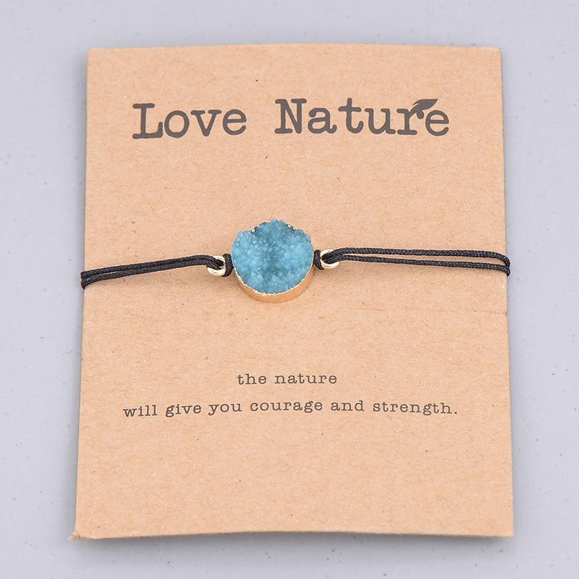 Этнические смолы кристалл каменный шарик браслет для мужчин женщин Мода Черная струна Плетеный Пара Браслеты Шарм ювелирные изделия - Окраска металла: blue