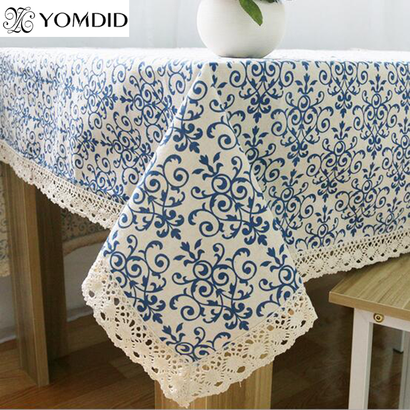 Blue Flower Retro Lace Tablecloth Chinese Style Cotton