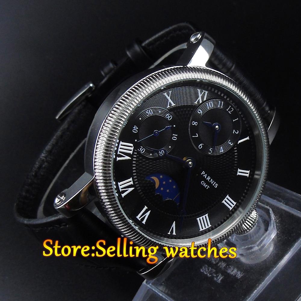 파르 미스 42mm 블랙 다이얼 gmt 달의 위상 손 권선 기계식 시계-에서기계식 시계부터 시계 의  그룹 1