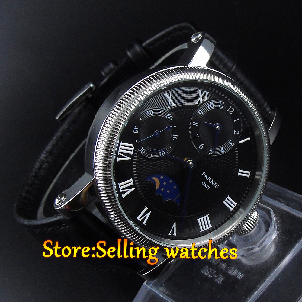 Parnis 42mm Black Dial GMT Moon Phase Hand Winding Mechanical Watches 42mm parnis pink dial gmt moon phase hand winding movement mens watch pa061