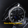 Parnis 42mm Black Dial GMT Moon Phase Hand Winding Mechanical Watches