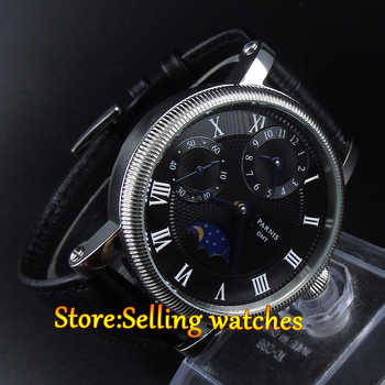 Parnis 42mm Black Dial GMT Moon Phase Hand Winding Mechanical Watches - DISCOUNT ITEM  36% OFF All Category