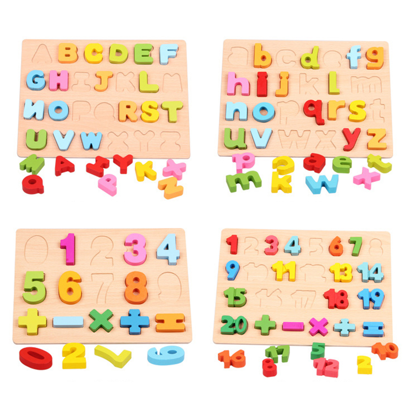 Educational toys wooden English alphabet puzzle children's toys  digital board learning educational baby toys