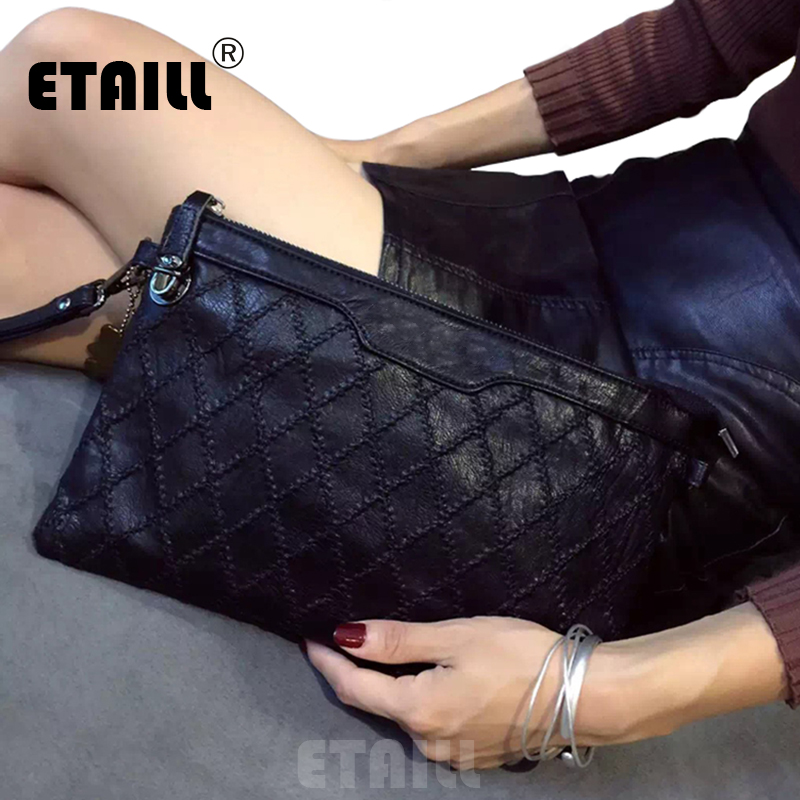 2017 Stylish Diamond Lattice Knitted Black Envelope Clutch font b Bag b font font b Womens