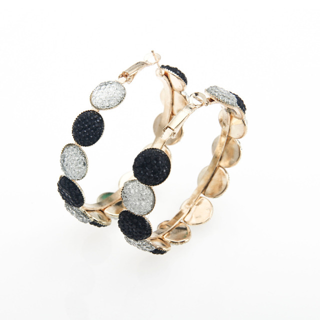 Sunshine fashion elegant high classic black and white shine hoop earrings for women gift