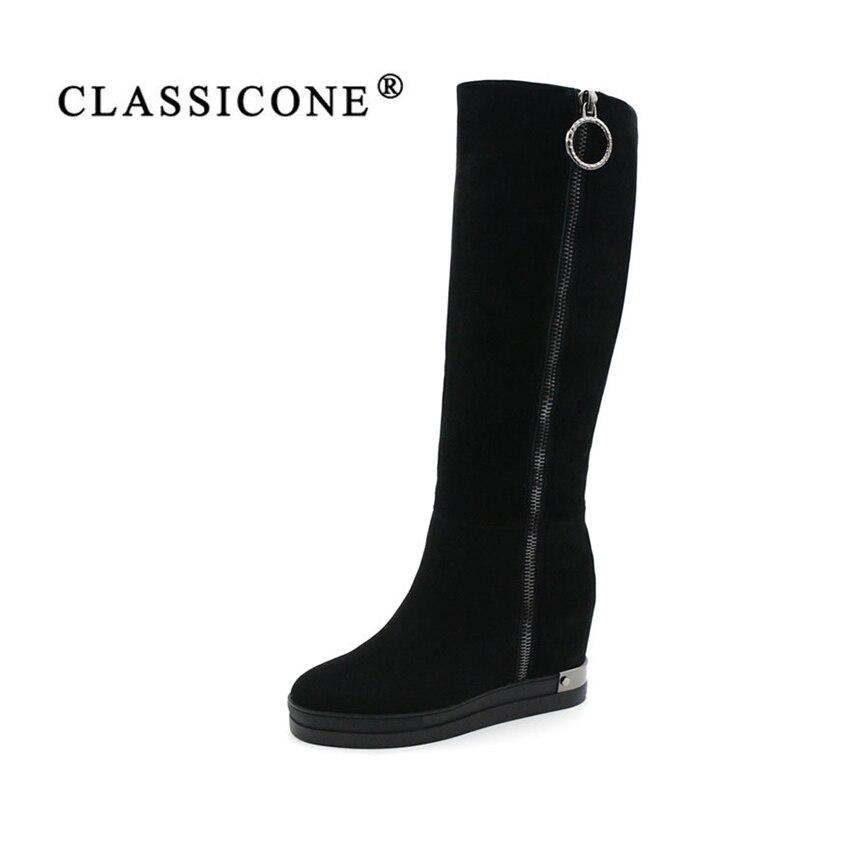CLASSICONE 2017 nuevas mujeres rodilla-alta botas de invierno negro de cuero genuino aumento de la altura zapatos de lana mujeres marca moda estilo