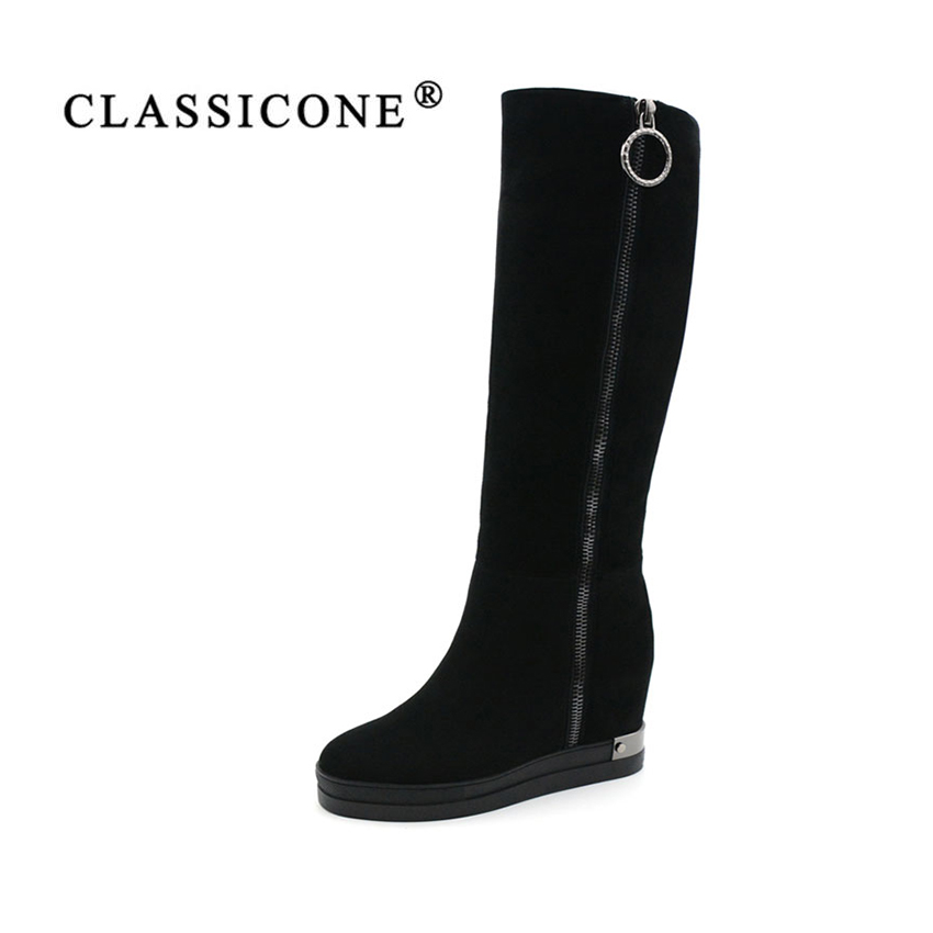 CLASSICONE 2017 New women's knee-high boots winter black genuine leather Height Increasing wool shoes women brand fashion style