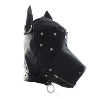 Dog head mask BDSM bondage leather fetish cosplay hood open eye mask couple sexy underwear slave collar belt mouth SM sex toys