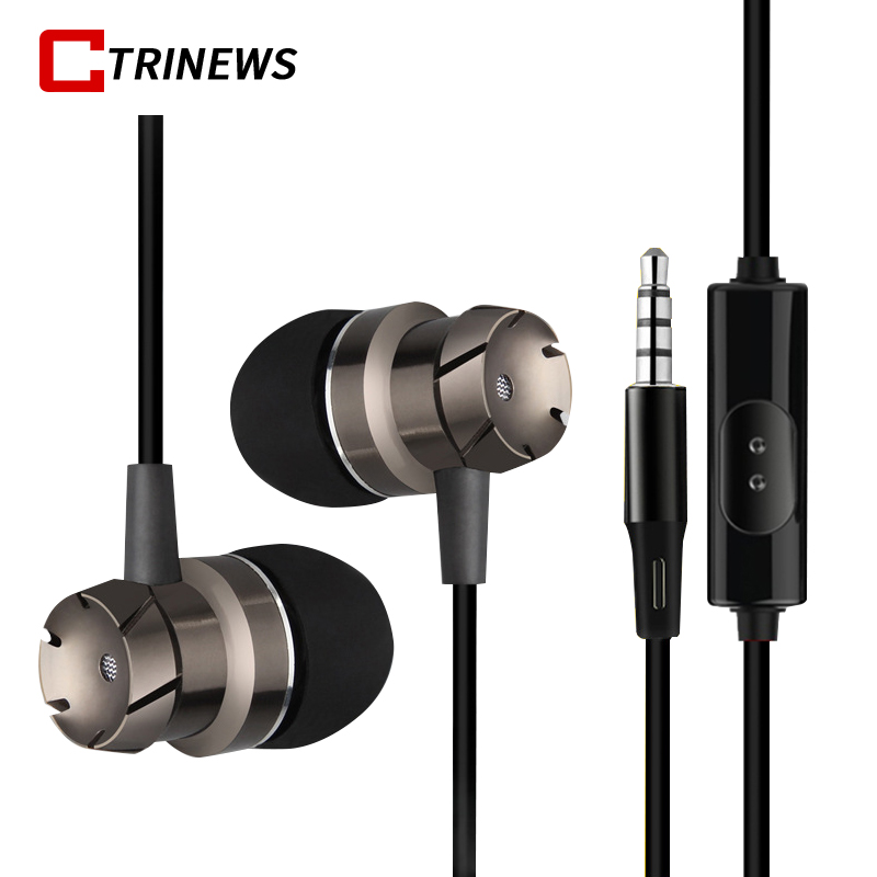 Earphones Metal In-Ear Earphone with Microphone Powerful Bass Wired Headset Earpods For iPhone Samsung Tablets Laptop Mp4 Player