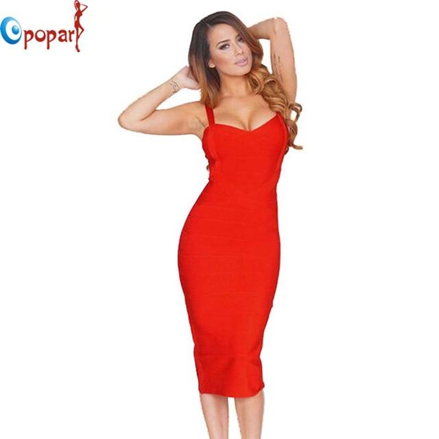 a1fd6111565a7b1 Новый 2016 женщины сексуальная знаменитости midi красный белый hl  эластичный бинт dress спагетти ремень клуб bodycon