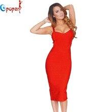 new 2016 women sexy celebrity midi red white hl elastic bandage dress spaghetti strap club bodycon party dress wholesale HL434
