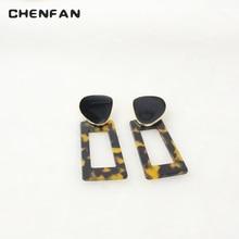 CHENFAN leopard earrings jewelry Fashion Earrings for Woman 2019 acrylic pendant geometric bohemian