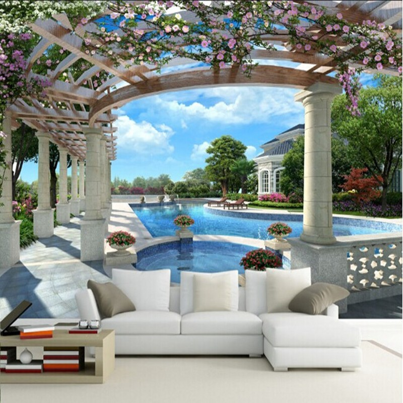 Beibehang garden space to expand 3d vision wallpaper mural for Mural vision tv