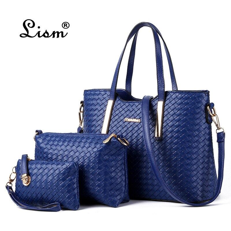 2018 Brand Women's Luxury Composite Shoulder Bags Ladies Handbags Clutches Bags Set 3 High Quality Sac A Main Femme De Marque